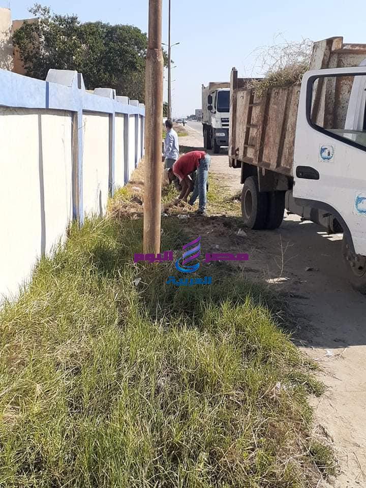 استمرار حملات متابعة رفع كفاءة الطريق الدولي الساحلي غرب بورسعيد  
