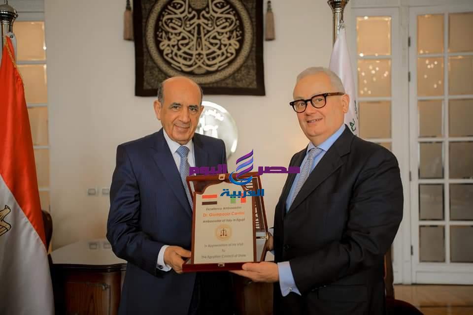 في زيارة رسمية سفير ايطاليا يهنئ المستشار حسام الدين محمود علي توليه منصبه الجديد   زيارة رسمية