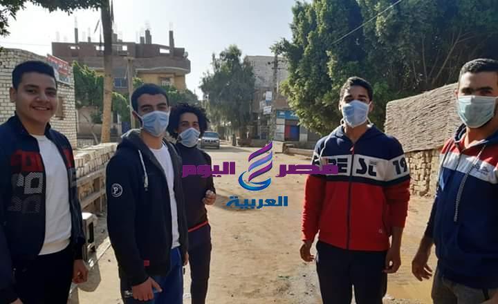 شباب قرية زهرة بالمنيا يشاركون بحملة تطهير ضد كورونا | شباب قرية زهرة