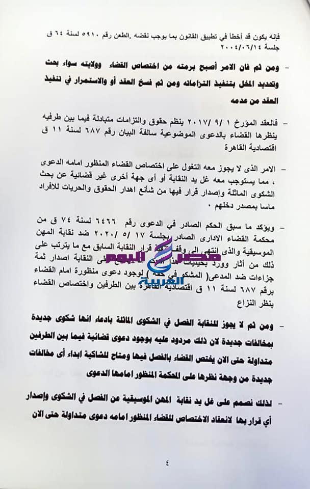 محامي الشرنوبي يرصد لنقابة الموسيقيين بالمستندات ٤٣ اخلال لسارة الطباخ