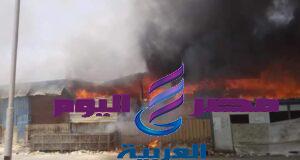 عاجل حريق هائل داخل سوق توشكى فى حلوان   حريق هائل