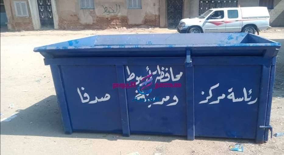 توزيع صناديق قمامة جديدة بشوارع صدفا والبدء في إنشاء محطة رفع صرف صحي لمجريس باسيوط