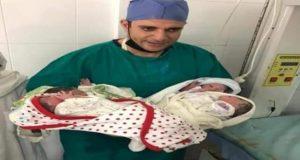 سيدة مصرية تضع اربع توائم بعد تأخر ثلاث سنوات عن الإنجاب.   تضع