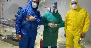 نجاح عملية ولادة قيصرية طارئة لمريضة كوفيد-19 بمستشفى تلا المركزى   عملية