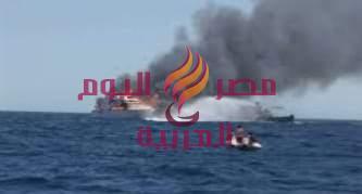 نشوب حريق بمركب صيد بالبحر الأحمر.