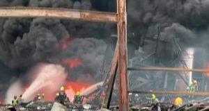 خسائر جسيمة إثر إندلاع حريق ضخم جراء إنفجار وقع بمصنع للبلاستيك في تايلاند | إنفجار
