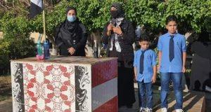«طيبة» تشارك طابور وتحية العلم بحضور أبناء الشهيد الشهاوى